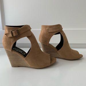 Peep toe tan wedge booties